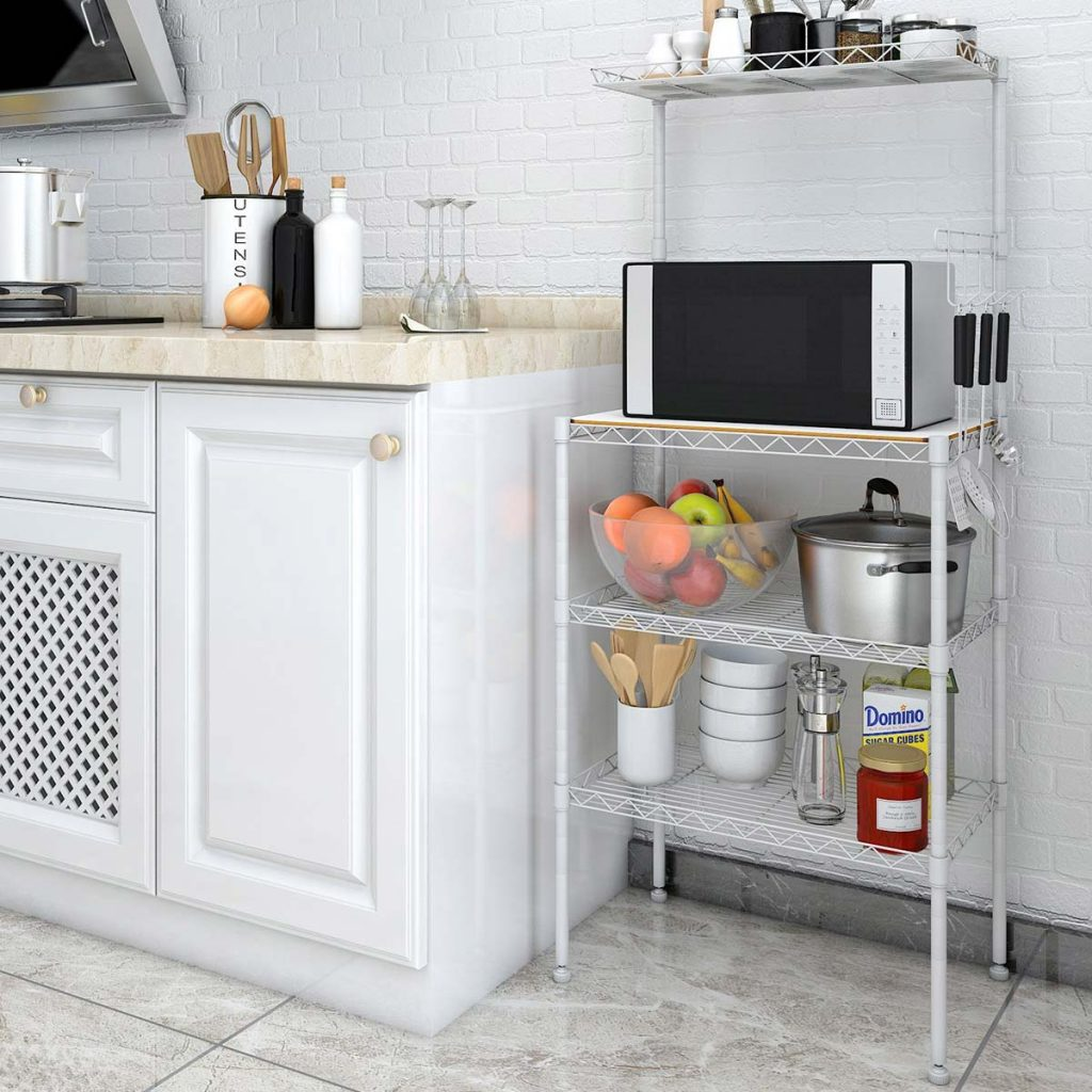 a 4 rack microwave stand with storage in a kitchen setting